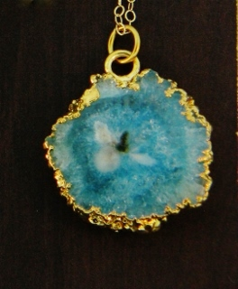Gold Solar Quartz Necklace - Aqua Blue