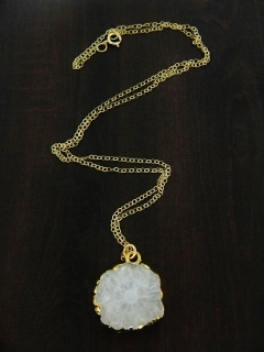 Gold Solar Quartz Necklace - White