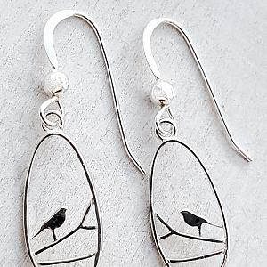 Silver Teardrop Robin Bird Earrings