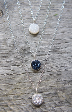 Tiny Silver Bezel Druzy Necklace - Silver