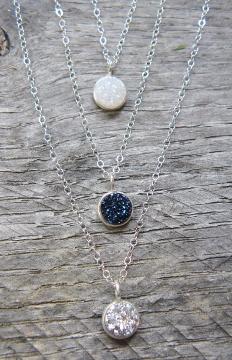 Tiny Silver Bezel Druzy Necklace - Silver